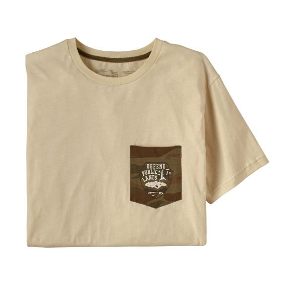 Patagonia Defend Public Lands Organic Pocket T-Shirt - Oyster White