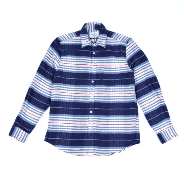 Portuguese Flannel Bleeckers Strip Shirt - Navy